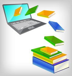 Laptop and books vector