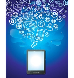 Tablet pc with bright social media icons - vector