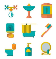 Flat icons of bathroom vector
