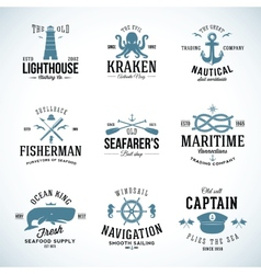 Set of vintage nautical labels and signs with vector