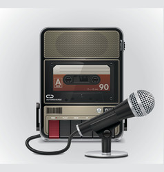Cassette recorder and microphone vector