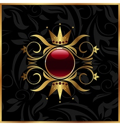 Golden floral frame with crown vector