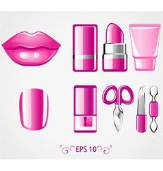 Lip and nail icons vector