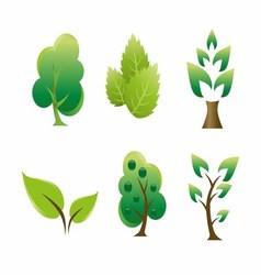 Green leaf tree icon vector