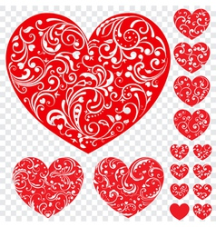 Set of red hearts with curls vector