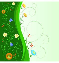 Abstract flowers with floral green stem vector