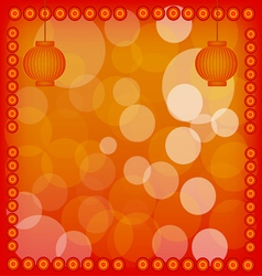 Chinese new year lantern on red abstract backgroun vector