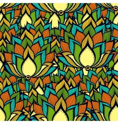 Retro pattern with green handdrawn flowers vector