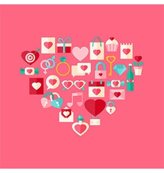 Heart shaped valentine day flat style icon set vector