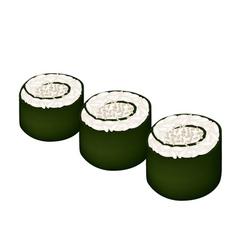 Maki sushi roll or nori roll with sesame vector