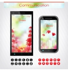 Cell phone with a bright floral headband the vector