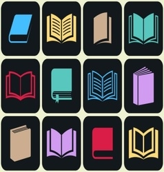 Colorful book icon set vector