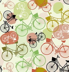 Vintage bicycles seamless pattern pastel green vector