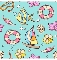 Summer marine seamless pattern vector