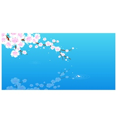 Pink cherry blossom vector