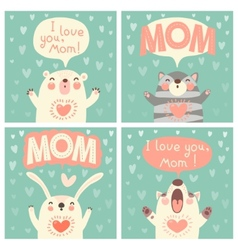 Greeting card for mom with cute animals vector