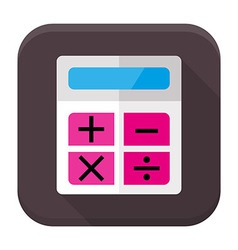 Calculator flat app icon with long shadow vector