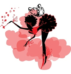 Fairy silhouette among clouds vector
