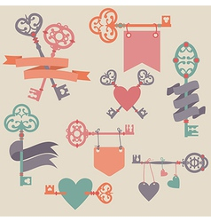 Set with vintage keys ribbons and hearts can be vector