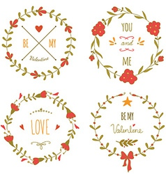 Set of wreaths for the valentines day vector
