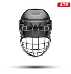 Classic black goalkeeper hockey helmet isolated on vector