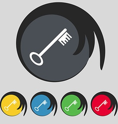 Key icon sign symbol on five colored buttons vector