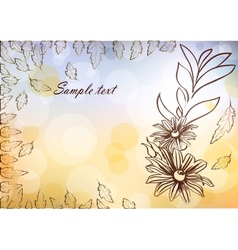 Floral card with glittering lights and silhouette vector