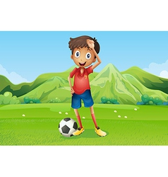 A football player at the field vector