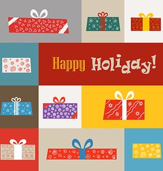Different gift boxes greeting card vector