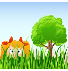 Cartoon little girl hide in grass vector