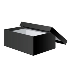 Realistic black blank package box opened with the vector