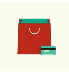 Red bag for shopping and vector