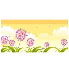 Allium flower against sky vector