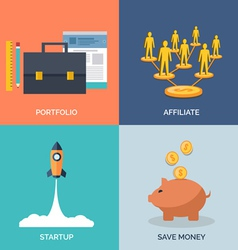 Set of flat design concept icons for business vector