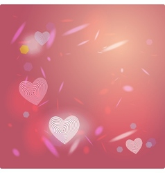 Abstract pink background light glare heart vector