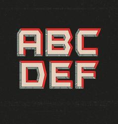 80s retro futuristic font from a to f vector