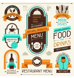 Restaurant menu banners and ribbons design vector