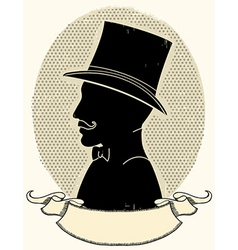 Gentleman in a top black hat and mustache vector