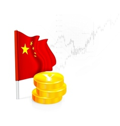 Chinese flag with coins vector