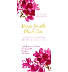 Background with red watercolor magnolia vector