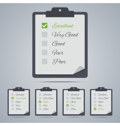Set of evaluation clipboards in flat style vector