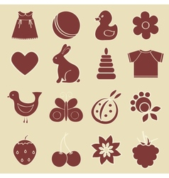 Baby objects set vector