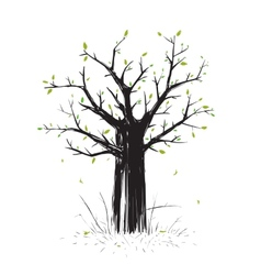 Scratchy scribble tree in black silhouette vector