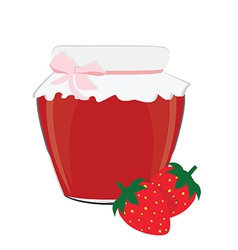 Strawberry jam and strawberries vector
