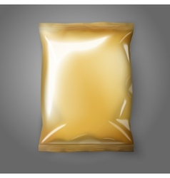 Blank golden realistic foil snack pack isolated vector