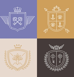 Linear heraldry symbols and design elements vector