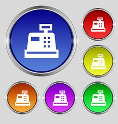 Cash register icon sign round symbol on bright vector