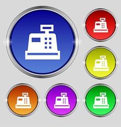 Cash register icon sign round symbol on bright vector