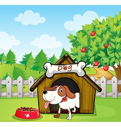 A dog inside a doghouse with a dogfood vector