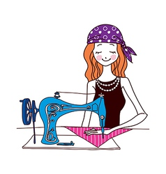 A sewing machine with girl vector
